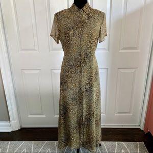 Robbie Bee VTG Silk Button Down Cheetah Maxi Dress